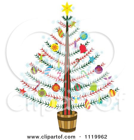 Cartoon Of A Potted Christmas Tree With Colorful Ornaments - Royalty Free Vector Clipart by Cherie Reve