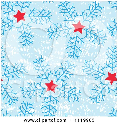 Clipart Of A Seamless Snowflake And Star Pattern Background - Royalty Free Vector Illustration by Cherie Reve