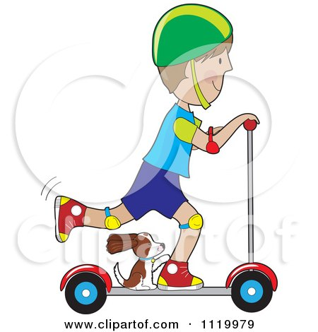 Cartoon Of A Happy Boy Riding A Scooter With His Dog By His Feet - Royalty Free Vector Clipart by Maria Bell