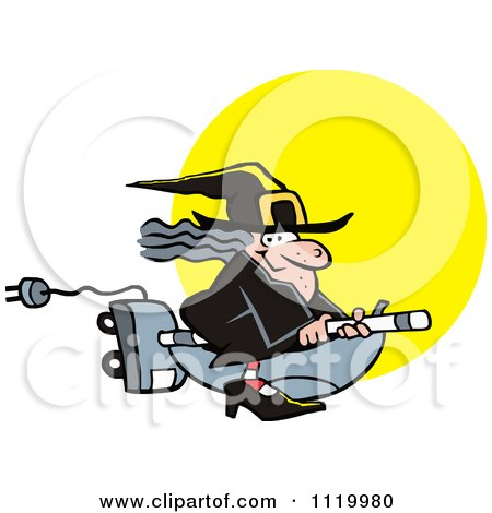 Cartoon Of A Halloween Witch Flying On A Vaccuum Over A Full Moon - Royalty Free Vector Clipart by Johnny Sajem