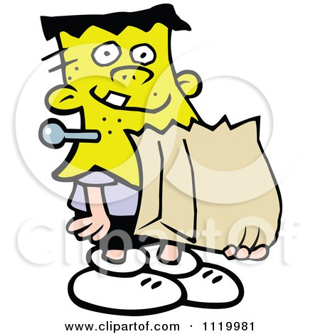 Cartoon Of A Boy Trick Or Treating In A Frankenstein Halloween Costume - Royalty Free Vector Clipart by Johnny Sajem