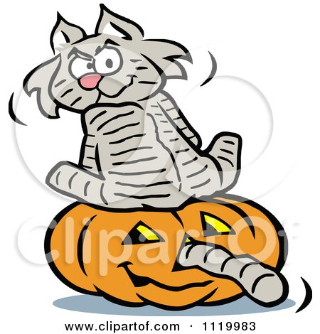 Cartoon Of A Cat Sitting On A Halloween Jackolantern With Its Tail Going Through The Nose - Royalty Free Vector Clipart by Johnny Sajem