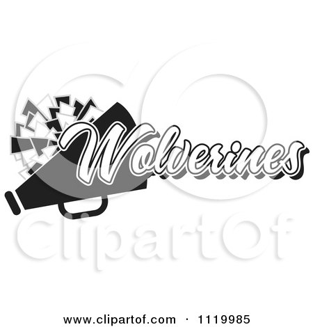 Clipart Of A Black And White Wolverines Cheerleader Design - Royalty Free Vector Illustration by Johnny Sajem