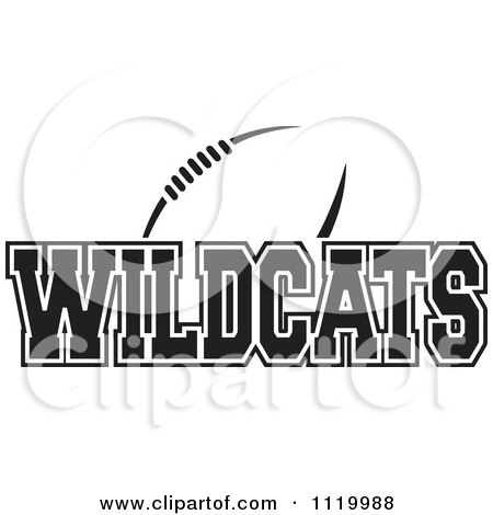 Clipart Of A Black And White American Football And Wildcats Team Text - Royalty Free Vector Illustration by Johnny Sajem