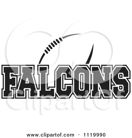 Clipart Of A Black And White American Football And Falcons Team Text - Royalty Free Vector Illustration by Johnny Sajem