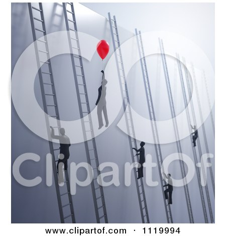 Clipart Of 3d Tiny Business Peopel Climbing Ladders While One Floats To The Top - Royalty Free CGI Illustration by Mopic