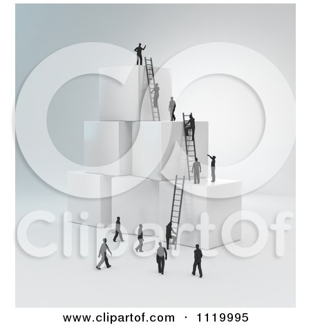 Clipart Of 3d Tiny Business Peopel Climbing Ladders On Cubes 2 - Royalty Free CGI Illustration by Mopic