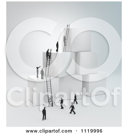 Clipart Of 3d Tiny Business Peopel Climbing Ladders On Cubes 1 - Royalty Free CGI Illustration by Mopic