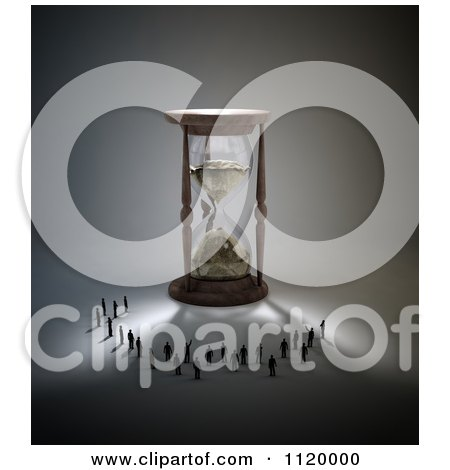 Clipart Of 3d Tiny People Standing In The Shadow Of An Hourglass - Royalty Free CGI Illustration by Mopic