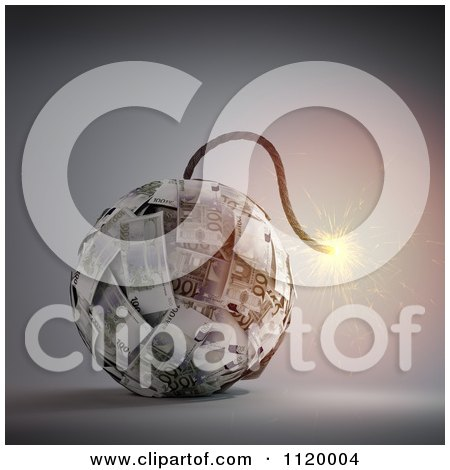 Clipart Of A 3d Lit Euro Bomb - Royalty Free CGI Illustration by Mopic