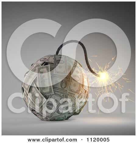 Clipart Of A 3d Lit Dollar Bomb - Royalty Free CGI Illustration by Mopic