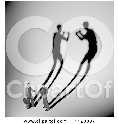 Clipart Of 3d Businessmen Shaking Hands With A Shadow Of Them Boxing 1 - Royalty Free CGI Illustration by Mopic