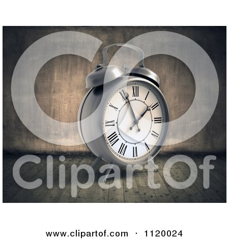 Clipart Of A 3d Vintage Alarm Clock In A Grungy Room - Royalty Free CGI Illustration by Mopic