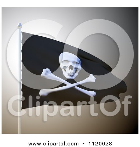 Clipart Of A 3d Waving Pirate Flag - Royalty Free CGI Illustration by Mopic