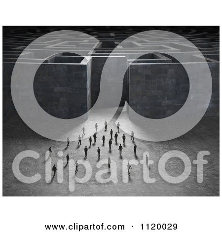 Clipart Of 3d Tiny People Approaching A Giant Maze - Royalty Free CGI Illustration by Mopic