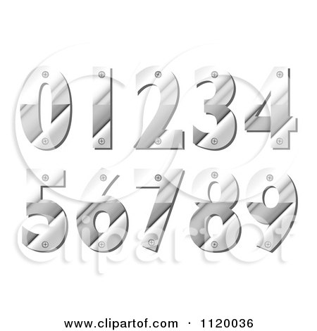 Clipart Of Silver Metal Numbers With Screws - Royalty Free Vector Illustration by michaeltravers