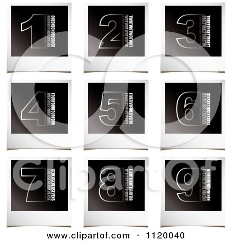 Clipart Of White Numbers On Instant Photo Paper - Royalty Free Vector Illustration by michaeltravers