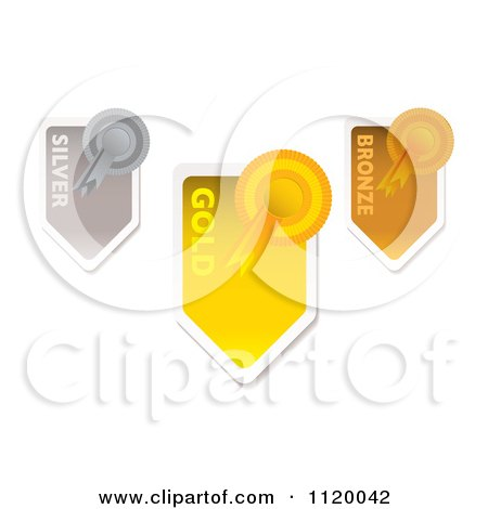 Clipart Of Gold Silver And Bronze Medals And Arrow Ribbons - Royalty Free Vector Illustration by michaeltravers