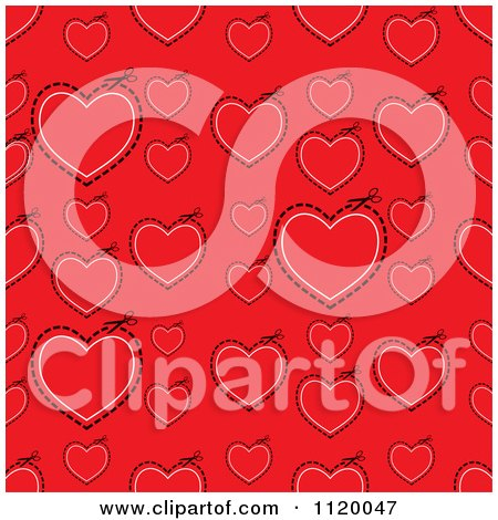 Clipart Of A Seamless Red Heart And Cut Path Background - Royalty Free Vector Illustration by michaeltravers