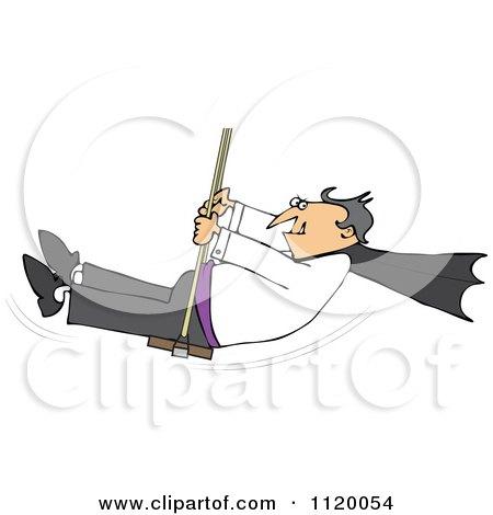 Cartoon Of A Halloween Vampire Swinging - Royalty Free Vector Clipart by djart