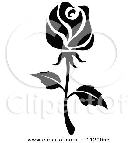 Clipart Of A Black And White Rose Flower 5 Royalty Free