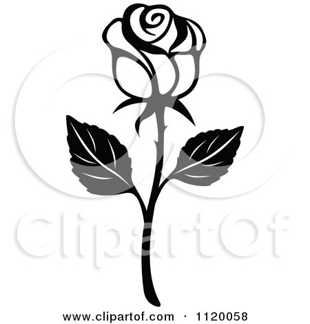 Clipart Of A Black And White Rose Flower 2 - Royalty Free Vector Illustration by Vector Tradition SM