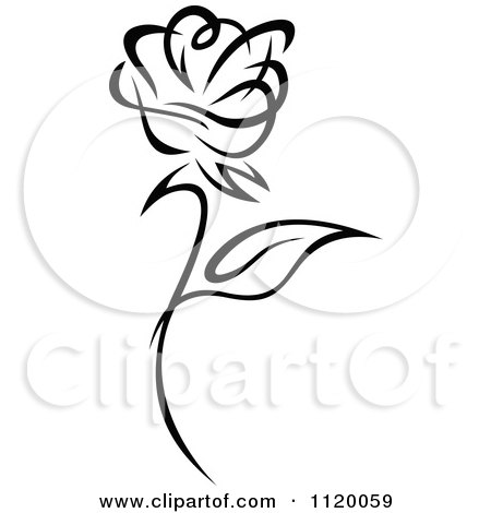 Clipart Of A Black And White Rose Flower 1 - Royalty Free Vector Illustration by Vector Tradition SM