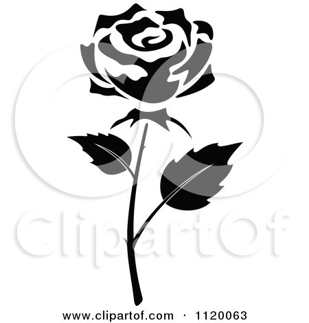 Clipart Of A Black And White Rose Flower 6 - Royalty Free Vector Illustration by Vector Tradition SM