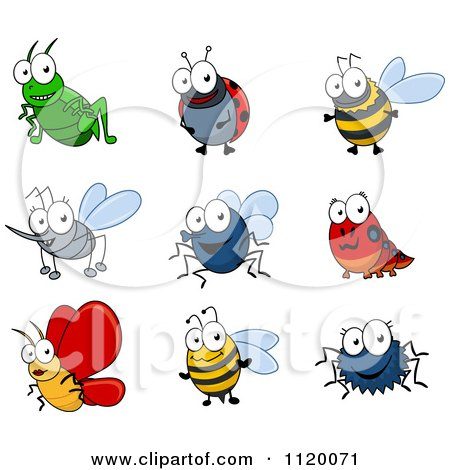Cartoon Of Happy Bugs - Royalty Free Vector Clipart by Vector Tradition SM