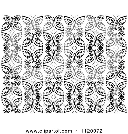 Clipart Of A Black And White Butterfly Seamless Background Pattern 2 - Royalty Free Vector Illustration by Vector Tradition SM