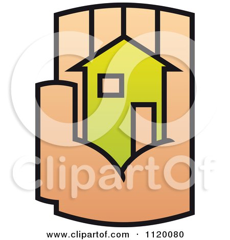 Clipart Of A House In The Palm Of A Hand 9 - Royalty Free Vector Illustration by Vector Tradition SM