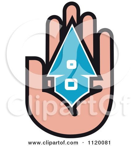 Clipart Of A House In The Palm Of A Hand 1 - Royalty Free Vector Illustration by Vector Tradition SM