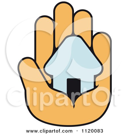 Clipart Of A House In The Palm Of A Hand 4 - Royalty Free Vector Illustration by Vector Tradition SM