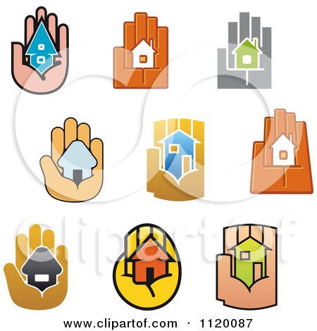 Clipart Of Houses In The Palms Of Hands - Royalty Free Vector Illustration by Vector Tradition SM