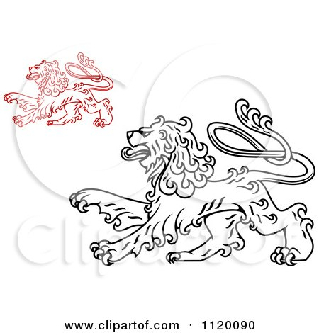 Clipart Of Long Haired Heraldic Lions - Royalty Free Vector Illustration by Vector Tradition SM