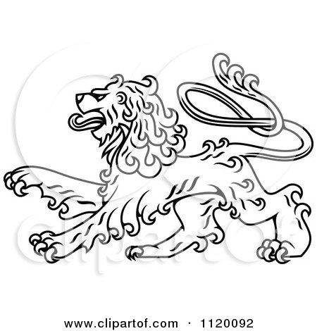 Clipart Of A Black And White Long Haired Heraldic Lion - Royalty Free Vector Illustration by Vector Tradition SM