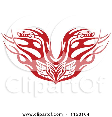 Clipart Of Red Tribal Flaming Motorcycle Biker Handlebars - Royalty Free Vector Illustration by Vector Tradition SM