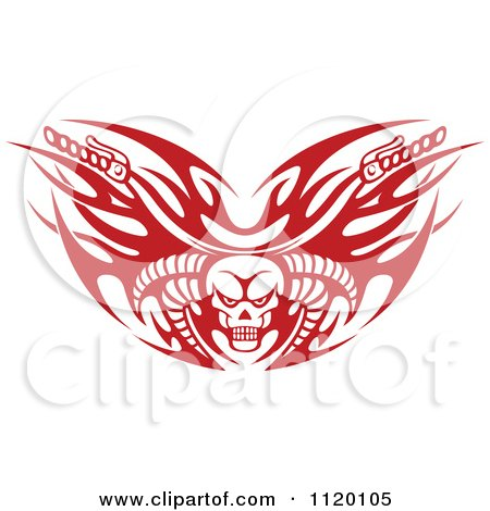Clipart Of Red Tribal Flaming Skull Motorcycle Biker Handlebars - Royalty Free Vector Illustration by Vector Tradition SM