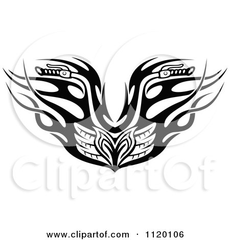 Clipart Of Black And White Tribal Flaming Motorcycle Biker Handlebars - Royalty Free Vector Illustration by Vector Tradition SM
