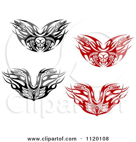 Clipart Of Black And White And Red Tribal Flaming Skull Motorcycle Biker Handlebars - Royalty Free Vector Illustration by Vector Tradition SM