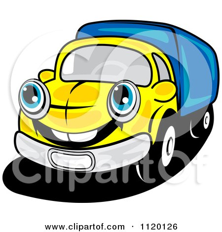 Cartoon Of A Happy Yellow Delivery Truck Or Big Rig - Royalty Free Vector Clipart by Vector Tradition SM