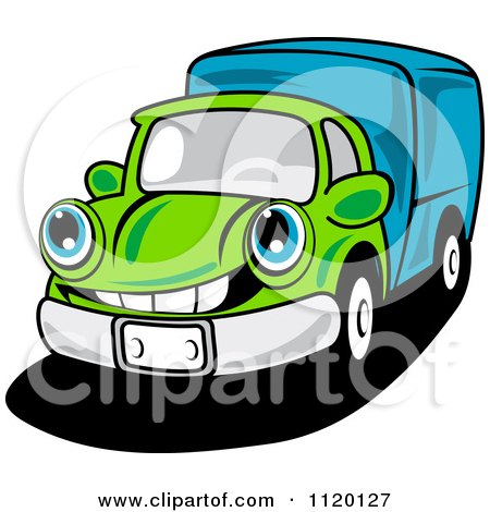 Cartoon Of A Happy Green Delivery Truck Or Big Rig - Royalty Free Vector Clipart by Vector Tradition SM