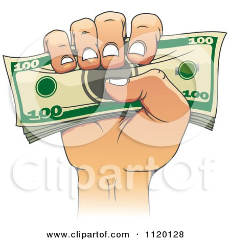 Clipart Of A Hand Holding A Stack Of Money - Royalty Free Vector Illustration by Vector Tradition SM