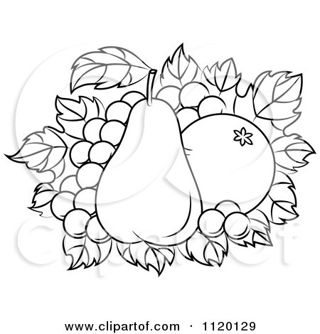Clipart Of A Black And White Orange And Pear On Grapes - Royalty Free Vector Illustration by Vector Tradition SM