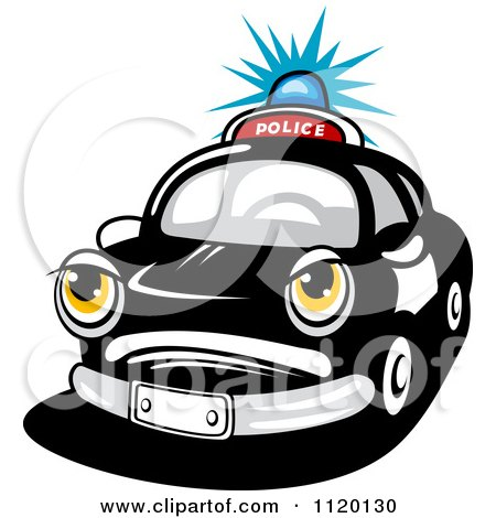 Clipart Of An Angry Police Car With A Flashing Siren Light - Royalty Free Vector Illustration by Vector Tradition SM