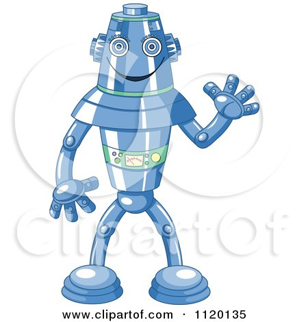 Cartoon Of A Happy Blue Metal Robot Waving - Royalty Free Vector Clipart by Pushkin