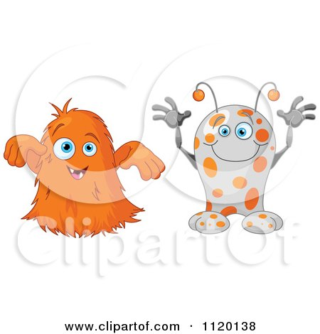 Cartoon Of Cute Monsters Trying To Be Scary Royalty Free Vector Clipart