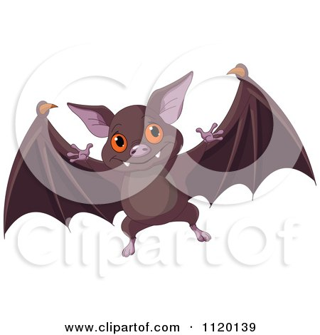 Cartoon Of A Cute Flying Vampire Bat - Royalty Free Vector Clipart by Pushkin
