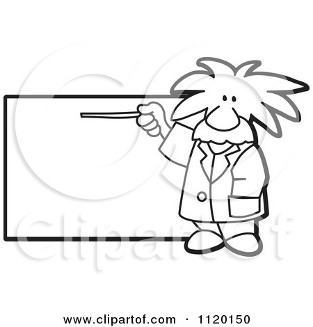 Cartoon Of A Black And White Albert Einstein Scientist Sign Or Logo 1 - Royalty Free Vector Clipart by Toons4Biz