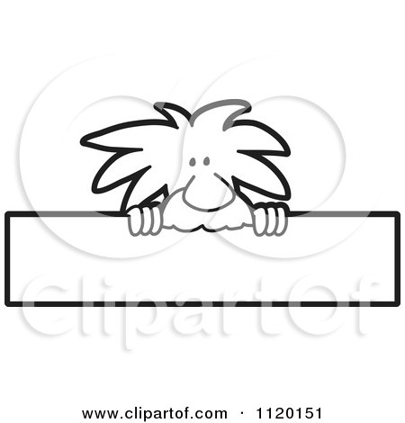 Cartoon Of A Black And White Albert Einstein Scientist Sign Or Logo 2 - Royalty Free Vector Clipart by Toons4Biz